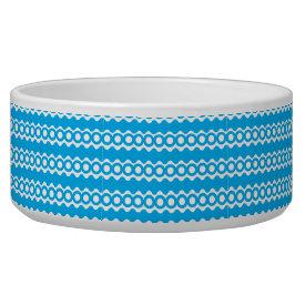 Bright Teal Turquoise Blue Waves Circles Pattern Pet Bowl