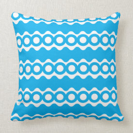 Bright Teal Turquoise Blue Waves Circles Pattern Throw Pillow