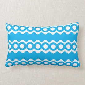 Bright Teal Turquoise Blue Waves Circles Pattern Pillow