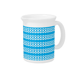 Bright Teal Turquoise Blue Waves Circles Pattern Pitchers
