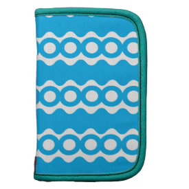 Bright Teal Turquoise Blue Waves Circles Pattern Organizers