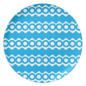 Bright Teal Turquoise Blue Waves Circles Pattern Party Plates