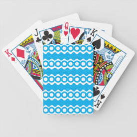 Bright Teal Turquoise Blue Waves Circles Pattern Bicycle Playing Cards
