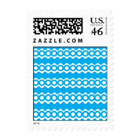 Bright Teal Turquoise Blue Waves Circles Pattern Stamp