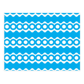 Bright Teal Turquoise Blue Waves Circles Pattern Postcard