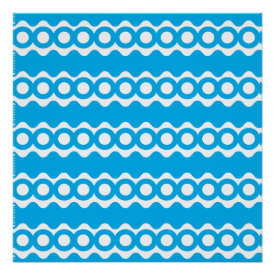 Bright Teal Turquoise Blue Waves Circles Pattern Posters