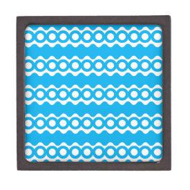 Bright Teal Turquoise Blue Waves Circles Pattern Premium Gift Box