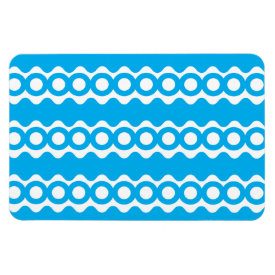 Bright Teal Turquoise Blue Waves Circles Pattern Rectangle Magnets