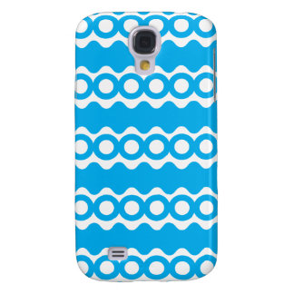 Bright Teal Turquoise Blue Waves Circles Pattern Samsung S4 Case