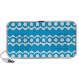 Bright Teal Turquoise Blue Waves Circles Pattern Portable Speaker