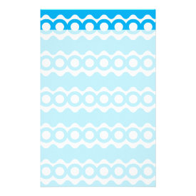 Bright Teal Turquoise Blue Waves Circles Pattern Personalized Stationery