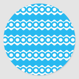 Bright Teal Turquoise Blue Waves Circles Pattern Round Stickers