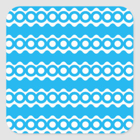 Bright Teal Turquoise Blue Waves Circles Pattern Square Sticker
