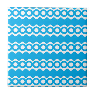 Bright Teal Turquoise Blue Waves Circles Pattern Tiles