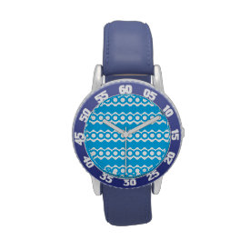 Bright Teal Turquoise Blue Waves Circles Pattern Wristwatch