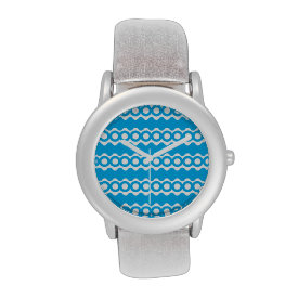 Bright Teal Turquoise Blue Waves Circles Pattern Wrist Watches