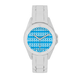 Bright Teal Turquoise Blue Waves Circles Pattern Watch