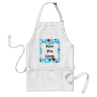 Bright Teal Turquoise Red White Polka Dots Pattern Adult Apron