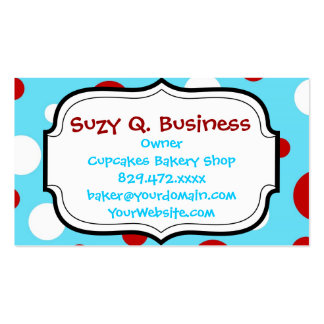 Bright Teal Turquoise Red White Polka Dots Pattern Business Card