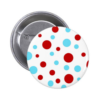 Bright Teal Turquoise Red White Polka Dots Pattern Pins