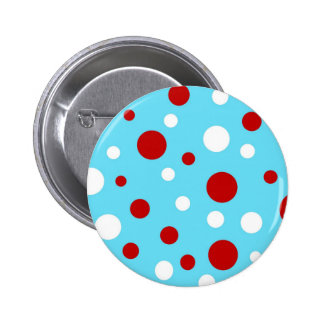 Bright Teal Turquoise Red White Polka Dots Pattern Pin