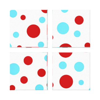 Bright Teal Turquoise Red White Polka Dots Pattern Canvas Prints