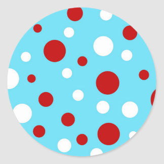 Bright Teal Turquoise Red White Polka Dots Pattern Classic Round Sticker