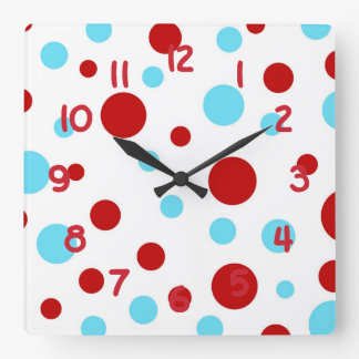 Bright Teal Turquoise Red White Polka Dots Pattern Square Wallclocks