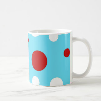 Bright Teal Turquoise Red White Polka Dots Pattern Coffee Mug