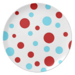 Bright Teal Turquoise Red White Polka Dots Pattern Dinner Plate