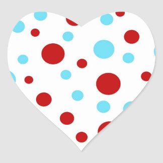 Bright Teal Turquoise Red White Polka Dots Pattern Heart Sticker