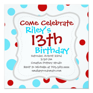 Bright Teal Turquoise Red White Polka Dots Pattern Invitation