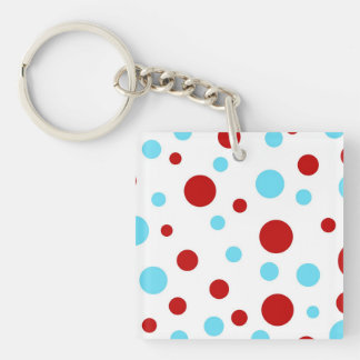 Bright Teal Turquoise Red White Polka Dots Pattern Double-Sided Square Acrylic Keychain