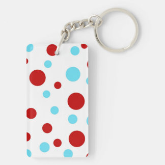 Bright Teal Turquoise Red White Polka Dots Pattern Double-Sided Rectangular Acrylic Keychain