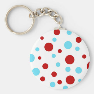 Bright Teal Turquoise Red White Polka Dots Pattern Basic Round Button Keychain