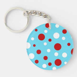 Bright Teal Turquoise Red White Polka Dots Pattern Double-Sided Round Acrylic Keychain