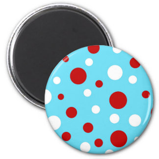 Bright Teal Turquoise Red White Polka Dots Pattern 2 Inch Round Magnet