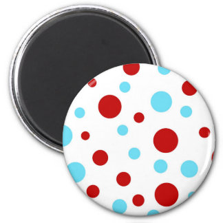 Bright Teal Turquoise Red White Polka Dots Pattern Magnet