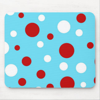 Bright Teal Turquoise Red White Polka Dots Pattern Mouse Pad