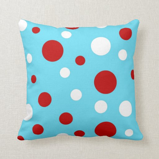 Bright Teal Turquoise Red White Polka Dots Pattern Throw
