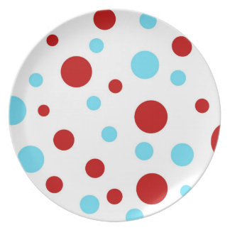 Bright Teal Turquoise Red White Polka Dots Pattern Plates