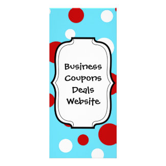 Bright Teal Turquoise Red White Polka Dots Pattern Rack Card