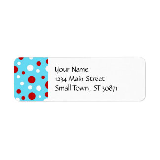 Bright Teal Turquoise Red White Polka Dots Pattern Return Address Label
