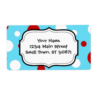 Bright Teal Turquoise Red White Polka Dots Pattern Shipping Label