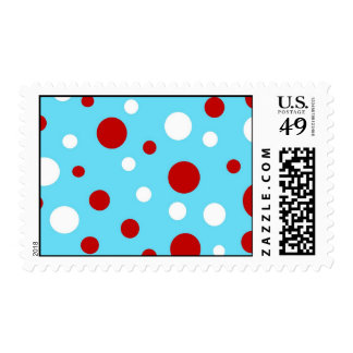 Bright Teal Turquoise Red White Polka Dots Pattern Stamps