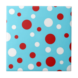 Bright Teal Turquoise Red White Polka Dots Pattern Tile
