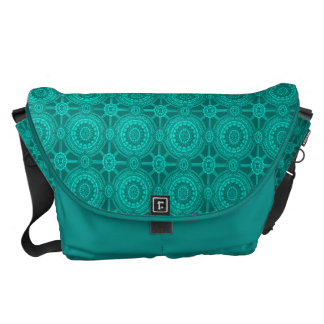 Bright Teal Vintage Geometric Circles Courier Bag