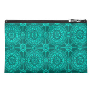 Bright Teal Vintage Geometric Circles Travel Accessories Bags