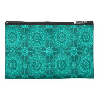 Bright Teal Vintage Geometric Circles Travel Accessory Bag