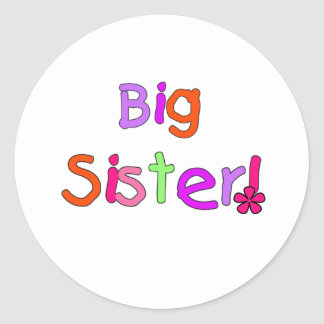 Bright Text Big Sister Classic Round Sticker